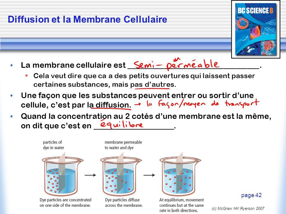 Diffusion et la Membrane Cellulaire