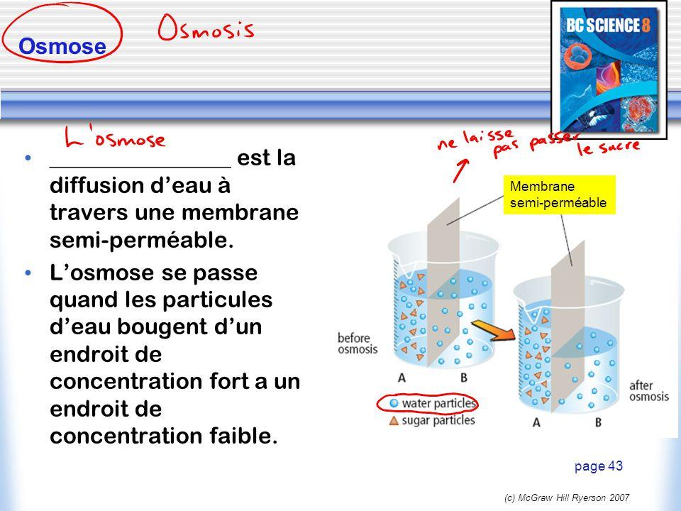 Osmose ________________ est la diffusion d'eau à travers une membrane semi-perméable.