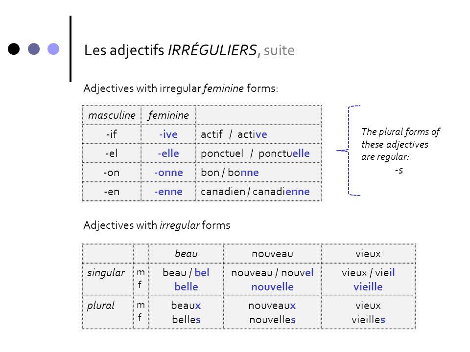 Les adjectifs IRRÉGULIERS, suite