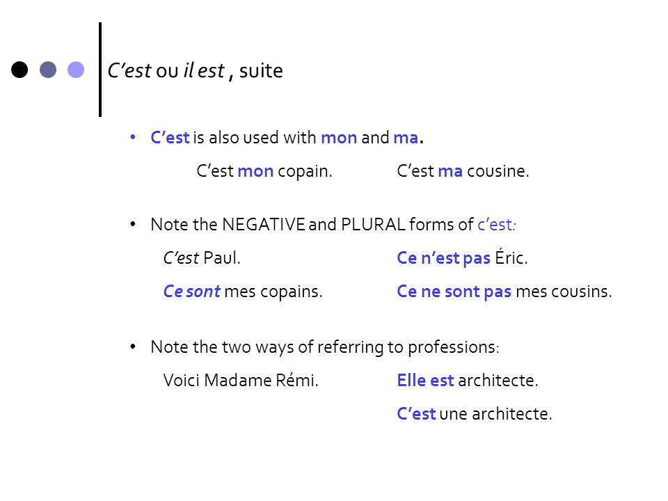 C'est ou il est , suite C'est is also used with mon and ma.