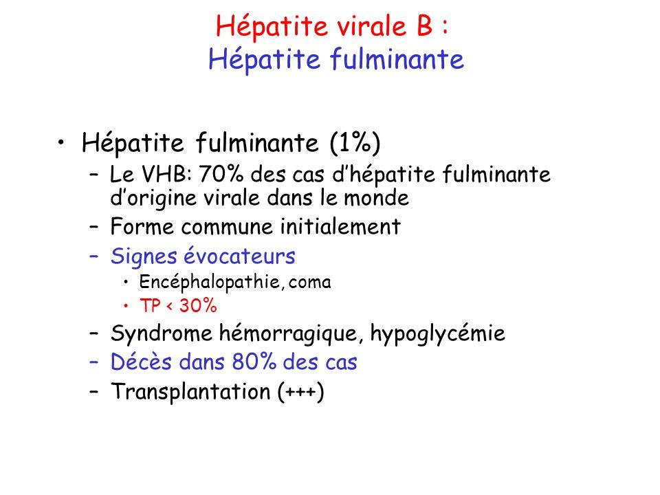 Hépatite virale B : Hépatite fulminante Hépatite fulminante (1%)