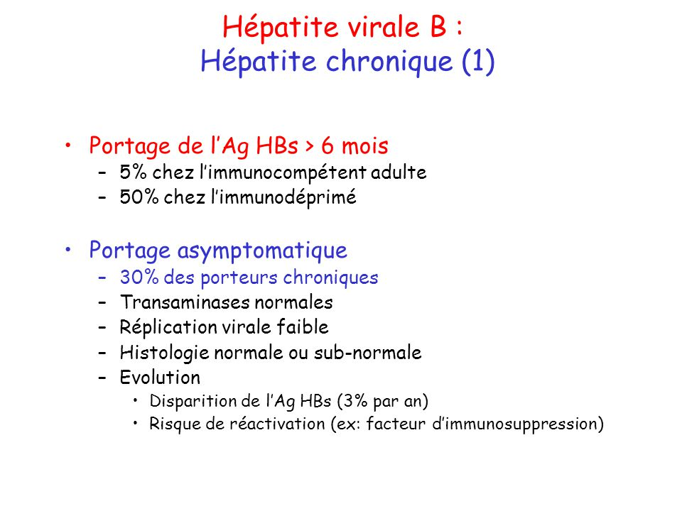 Hépatite virale B : Hépatite chronique (1)