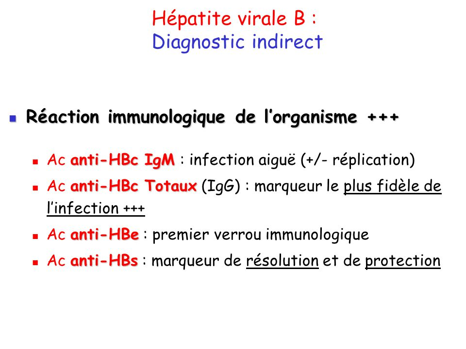 Hépatite virale B : Diagnostic indirect