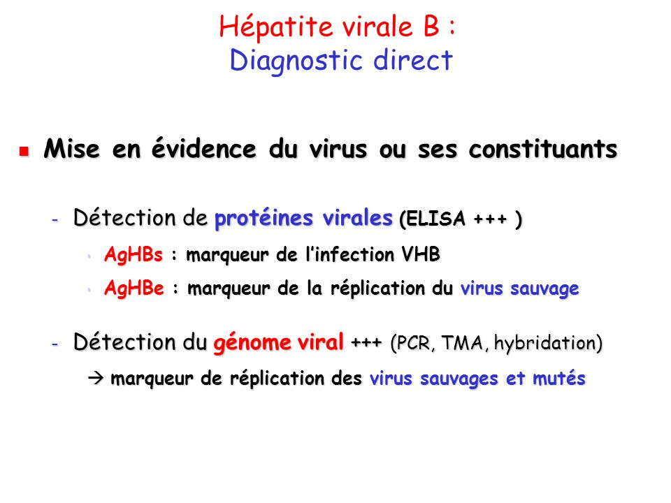 Hépatite virale B : Diagnostic direct