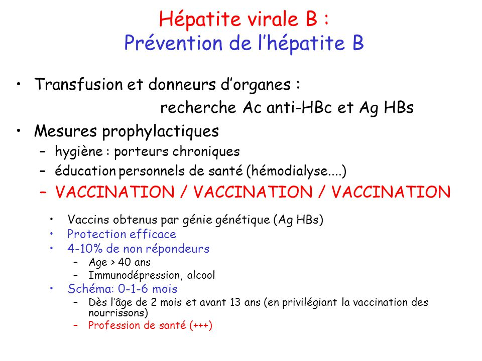Prévention de l'hépatite B