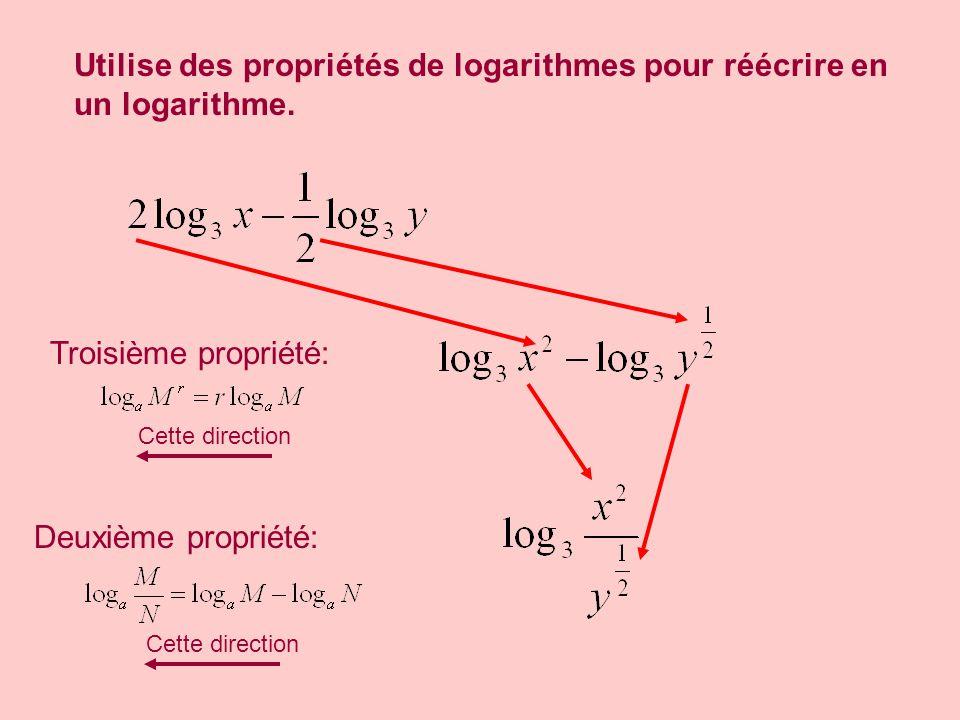 Utilise des propriétés de logarithmes pour réécrire en un logarithme.