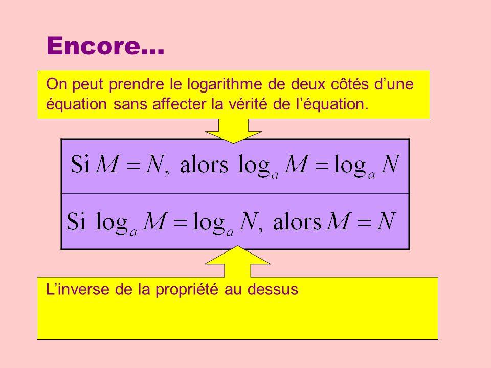 Encore… On peut prendre le logarithme de deux côtés d'une équation sans affecter la vérité de l'équation.