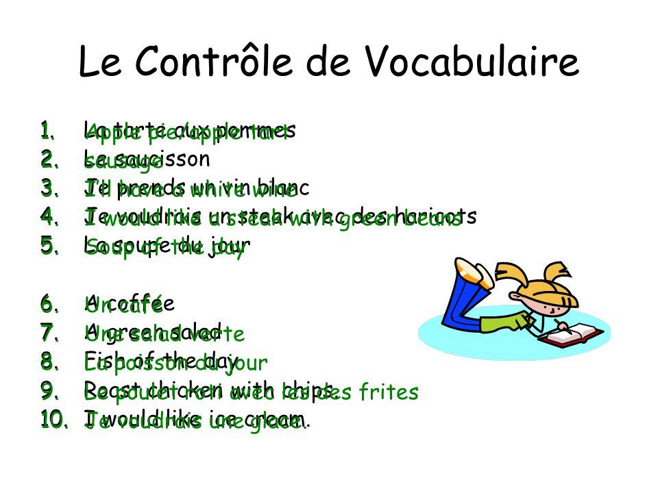 Le Contrôle de Vocabulaire