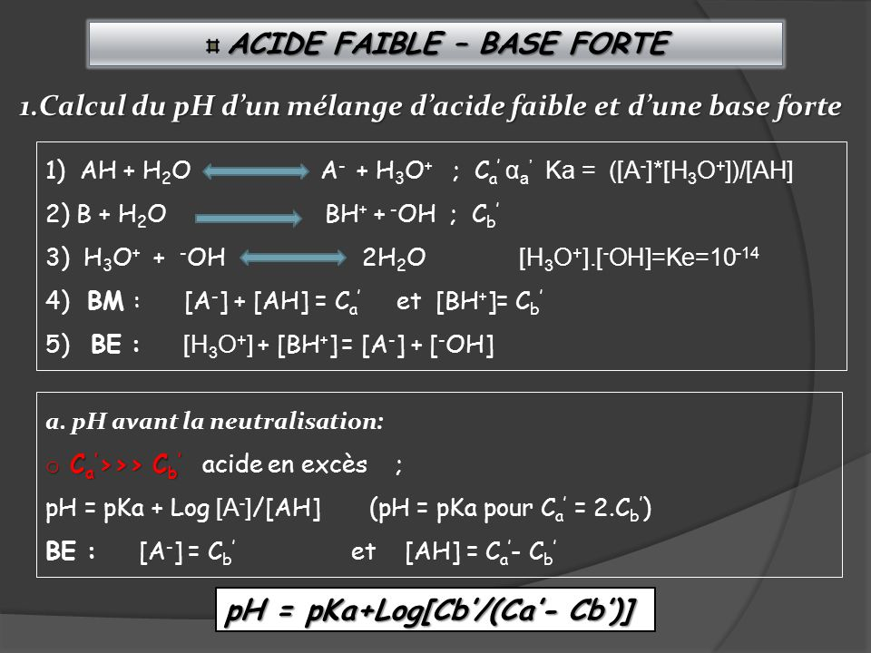 ACIDE FAIBLE – BASE FORTE