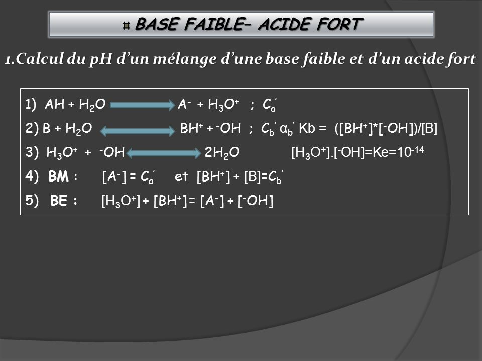 BASE FAIBLE– ACIDE FORT