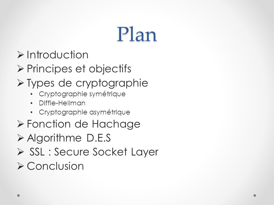 Plan Introduction Principes et objectifs Types de cryptographie
