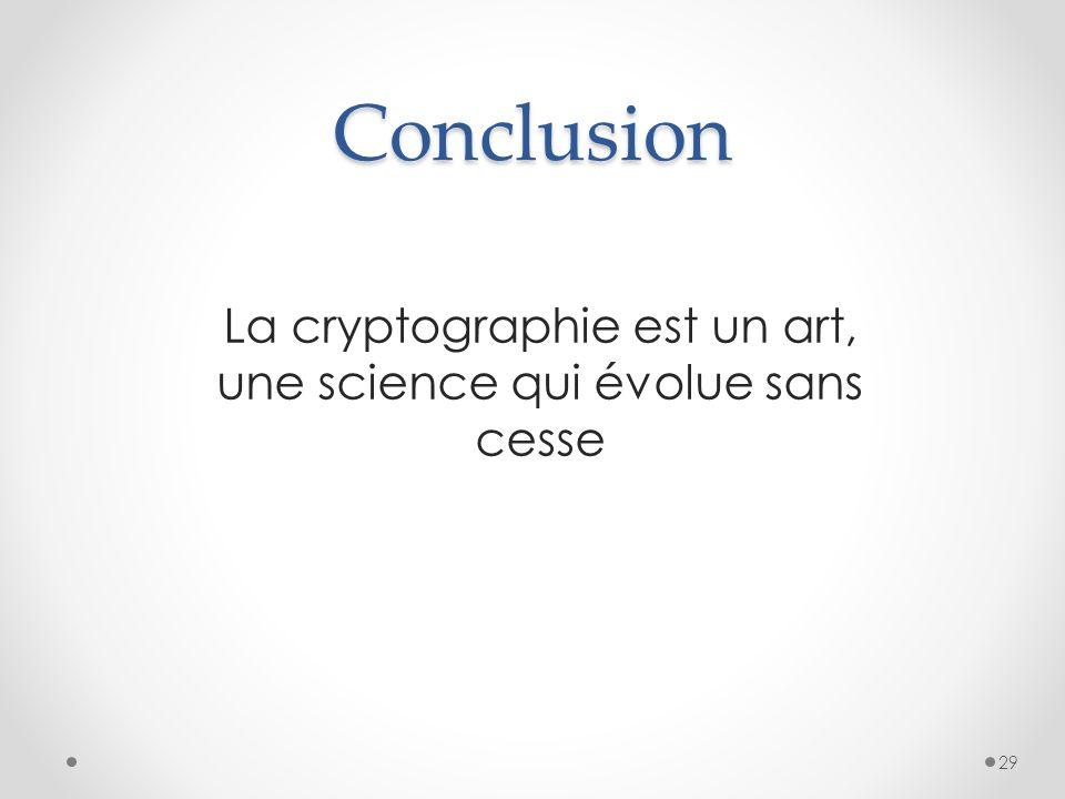 La cryptographie est un art, une science qui évolue sans cesse