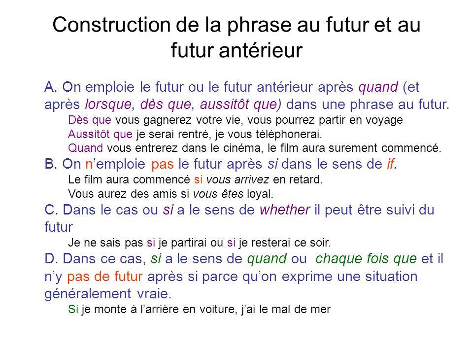Construction de la phrase au futur et au futur antérieur
