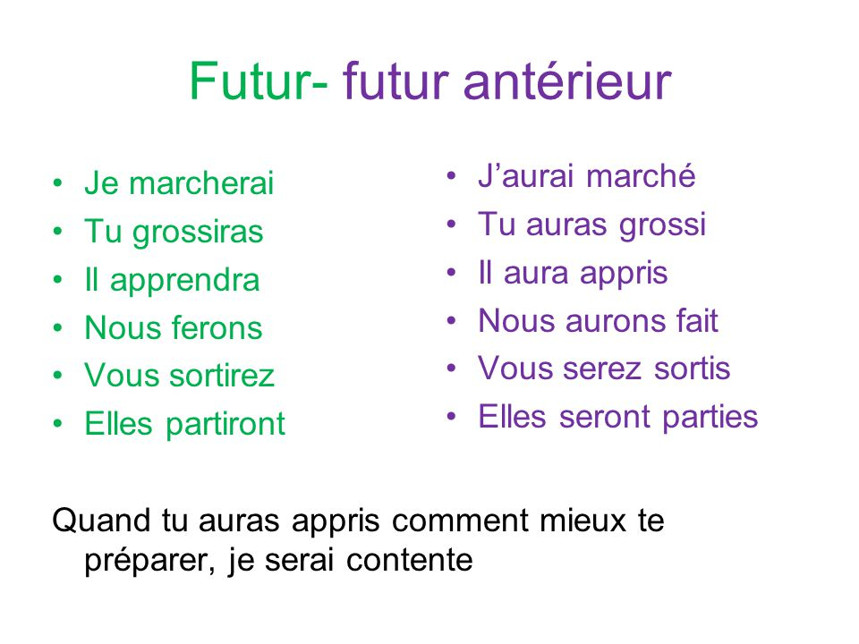 Futur- futur antérieur