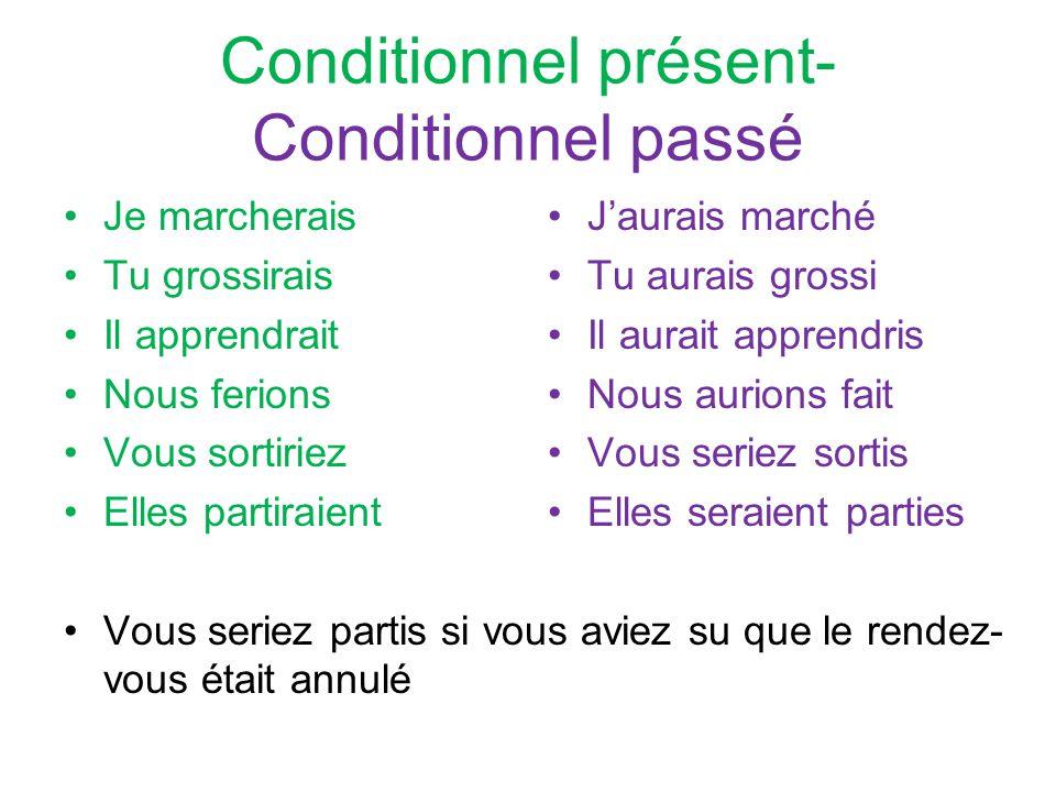 Conditionnel présent- Conditionnel passé