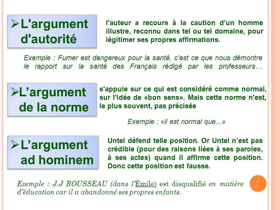 L argument d autorité L'argument de la norme L'argument ad hominem