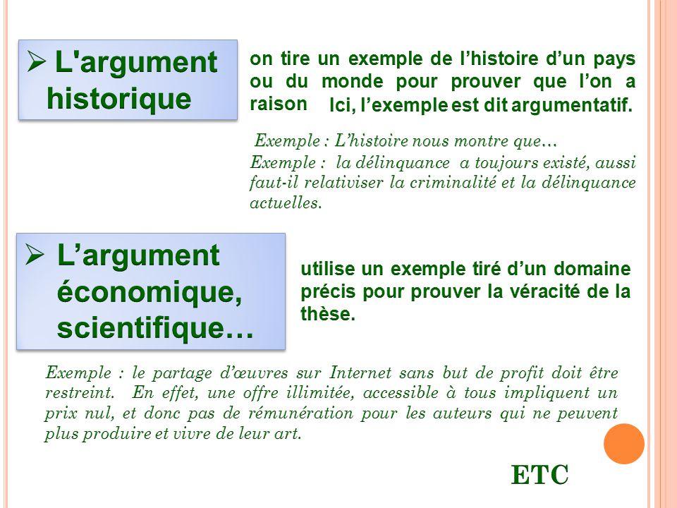 L'argument économique, scientifique…
