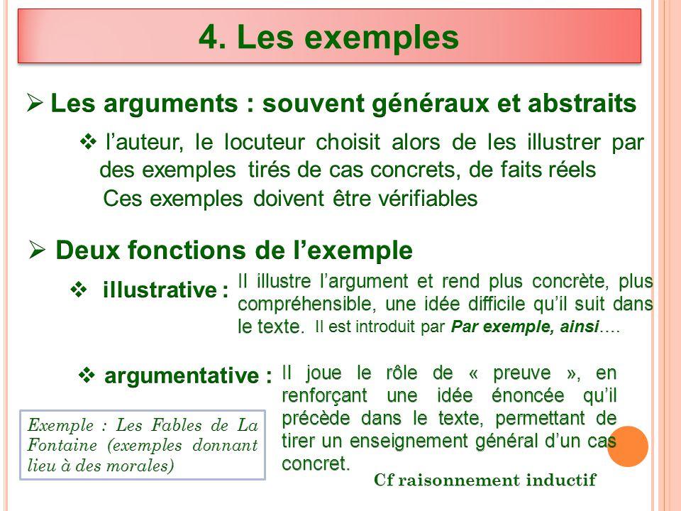 4. Les exemples Les arguments : souvent généraux et abstraits