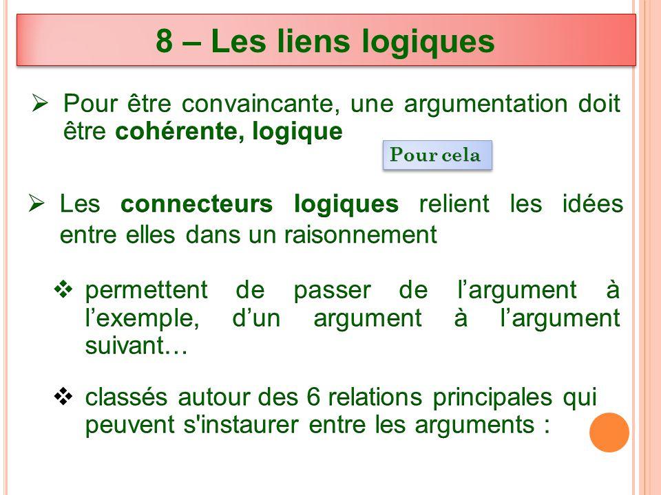 8 – Les liens logiques Pour être convaincante, une argumentation doit être cohérente, logique. Pour cela.