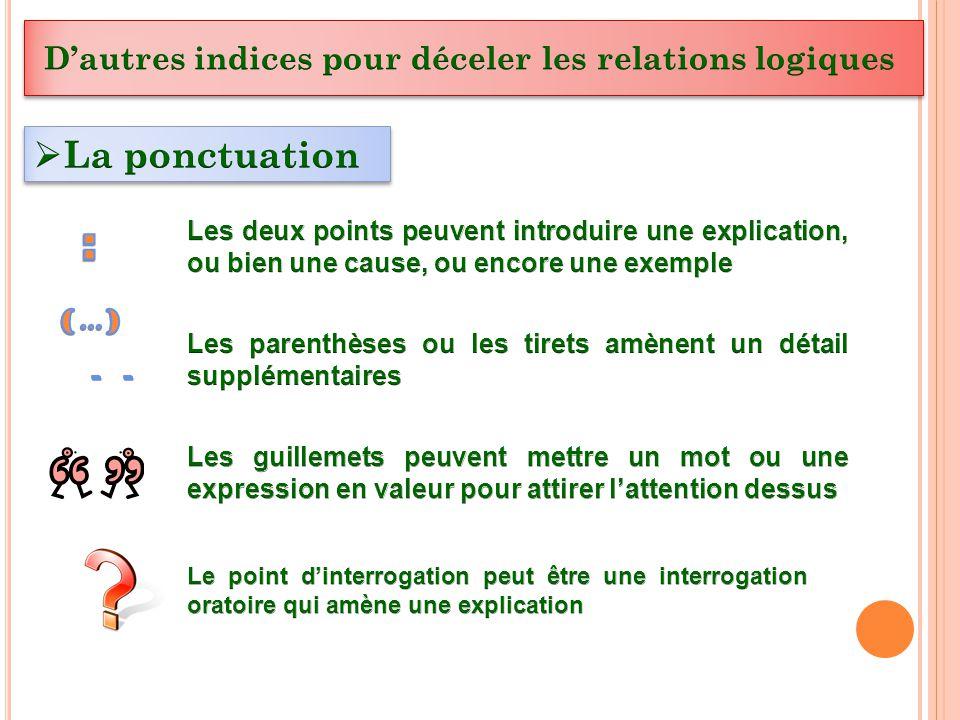 : La ponctuation D'autres indices pour déceler les relations logiques