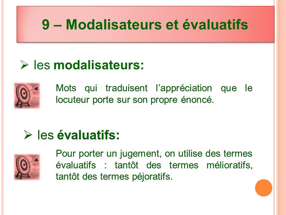 9 – Modalisateurs et évaluatifs