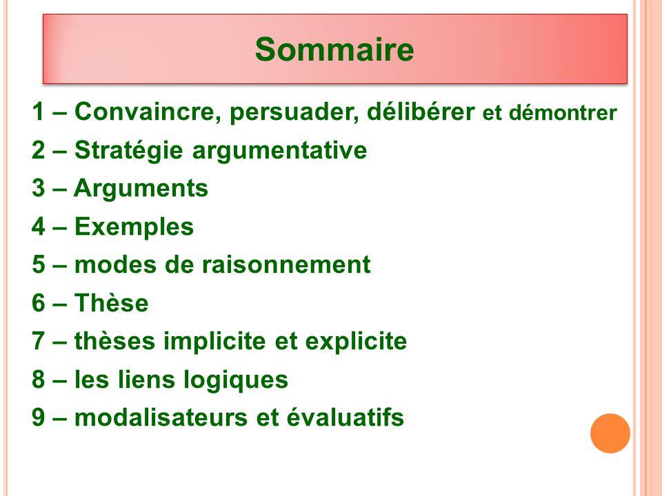 Sommaire 1 – Convaincre, persuader, délibérer et démontrer