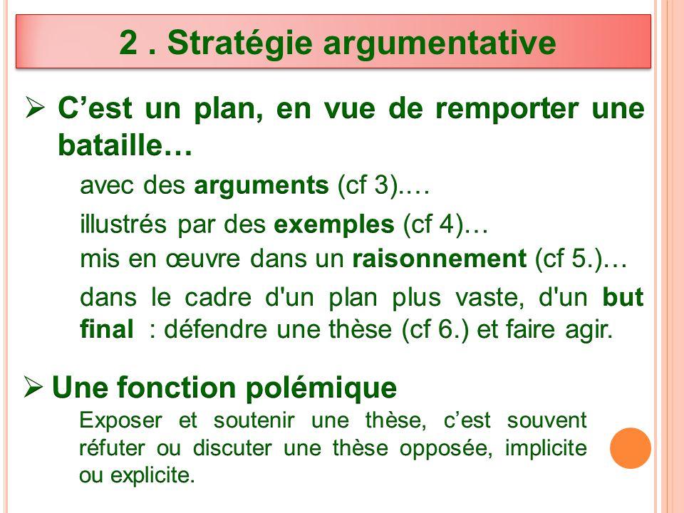 2 . Stratégie argumentative