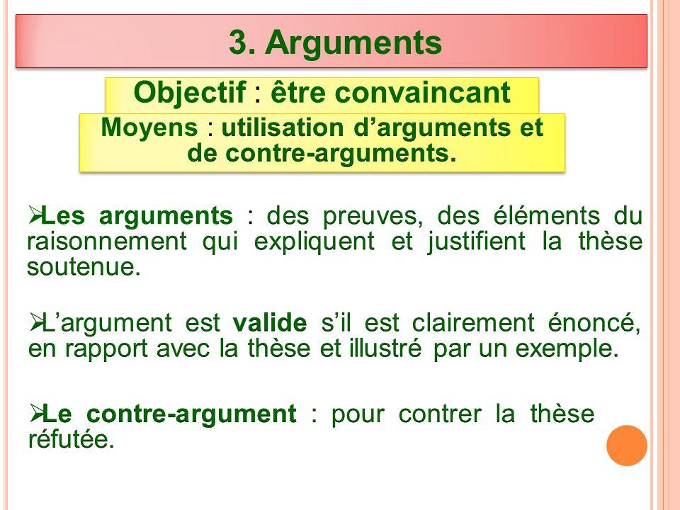 3. Arguments Objectif : être convaincant