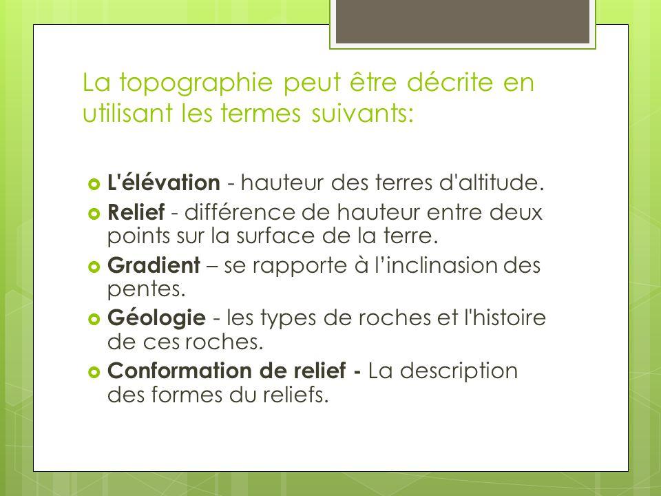 La topographie peut être décrite en utilisant les termes suivants: