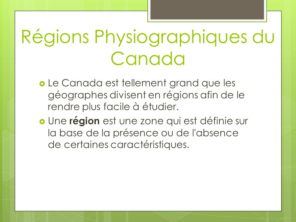 Régions Physiographiques du Canada