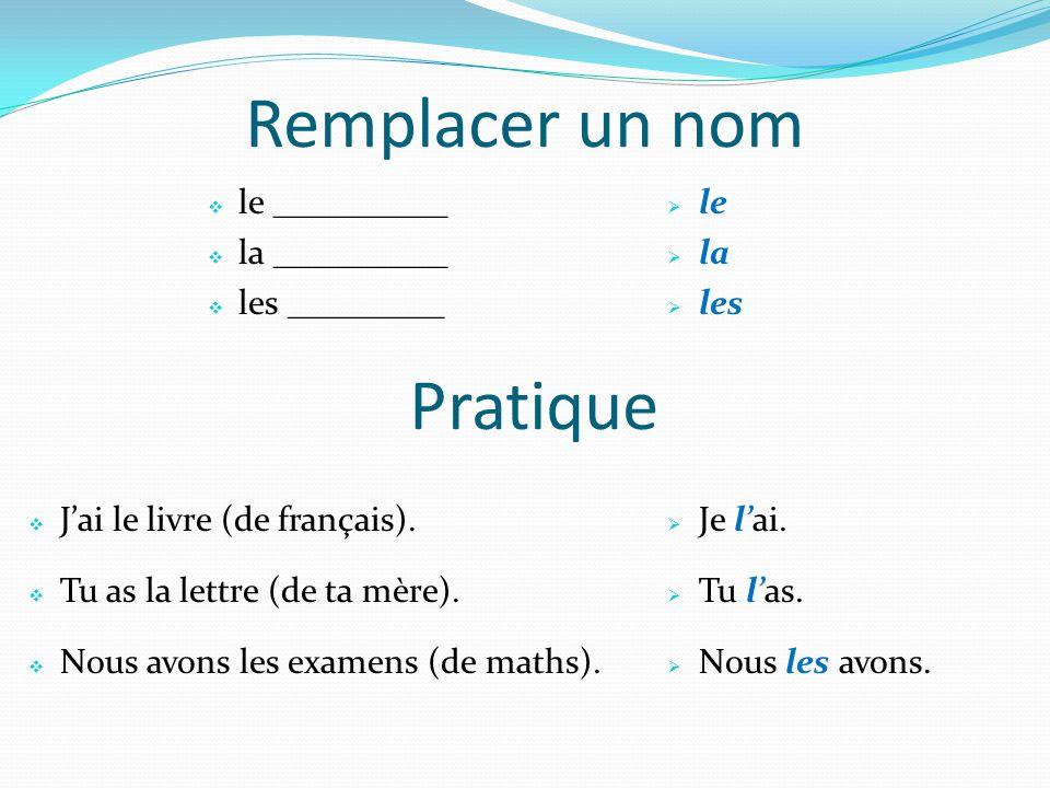 Remplacer un nom Pratique le __________ la __________ les _________