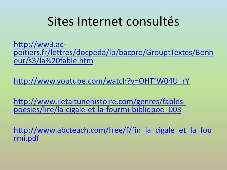 Sites Internet consultés