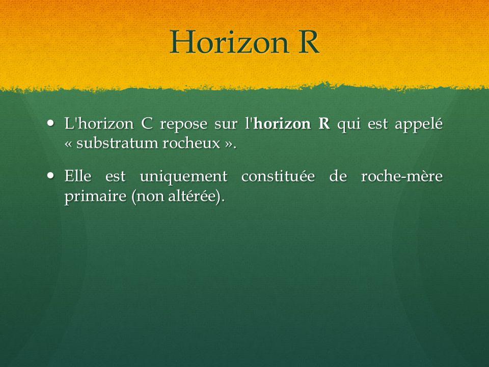 Horizon R L horizon C repose sur l horizon R qui est appelé « substratum rocheux ».