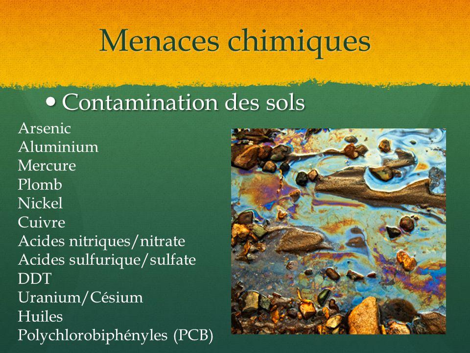 Menaces chimiques Contamination des sols Arsenic Aluminium Mercure