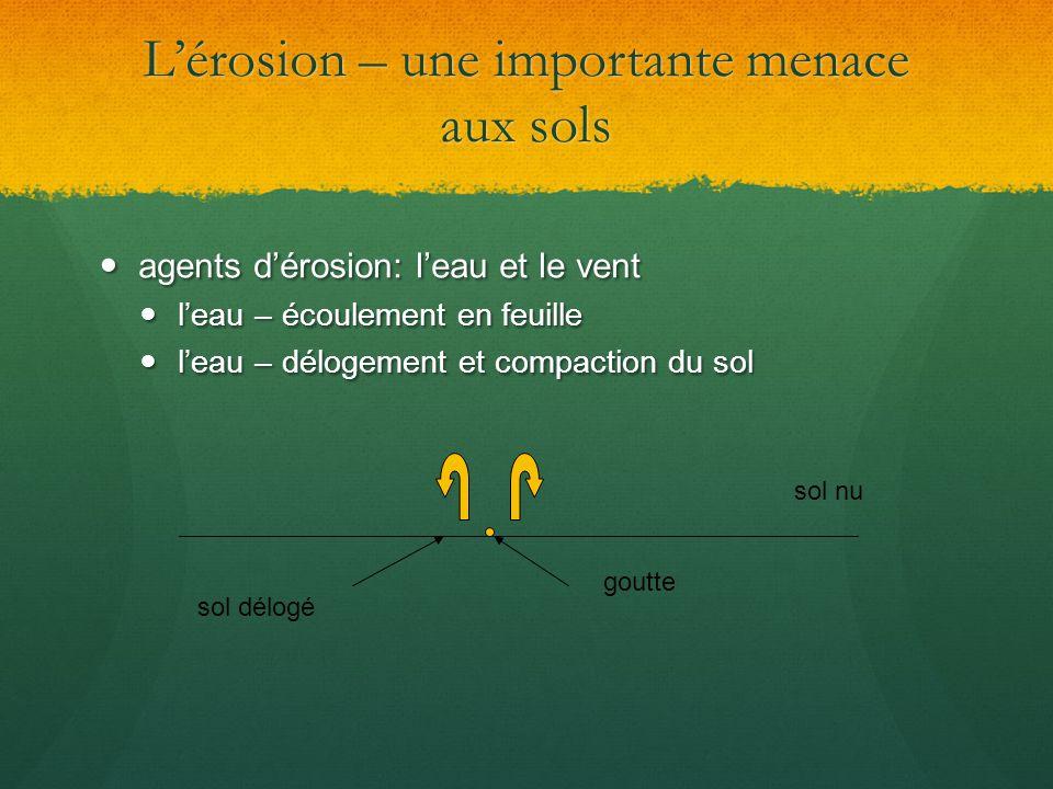 L'érosion – une importante menace aux sols