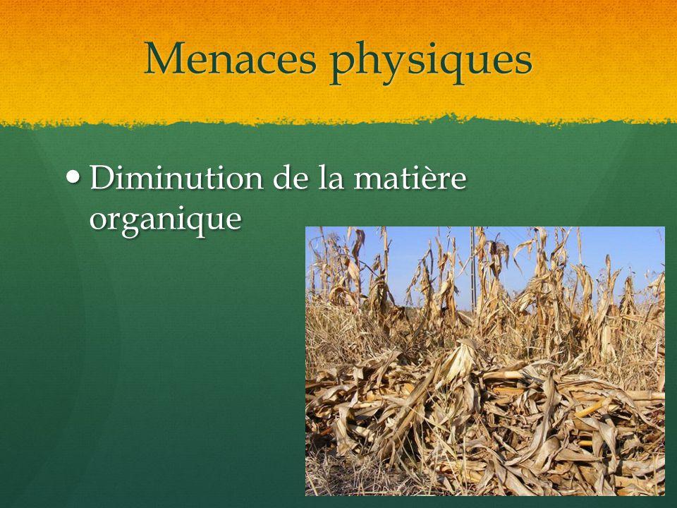 Menaces physiques Diminution de la matière organique