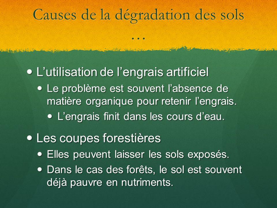 Causes de la dégradation des sols …