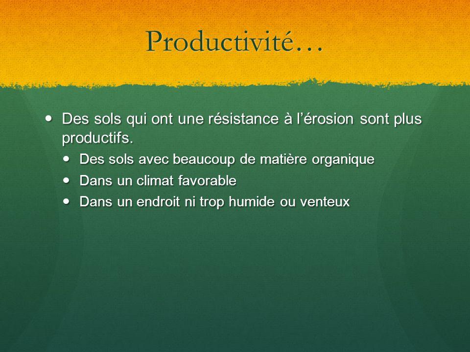 Productivité… Des sols qui ont une résistance à l'érosion sont plus productifs. Des sols avec beaucoup de matière organique.
