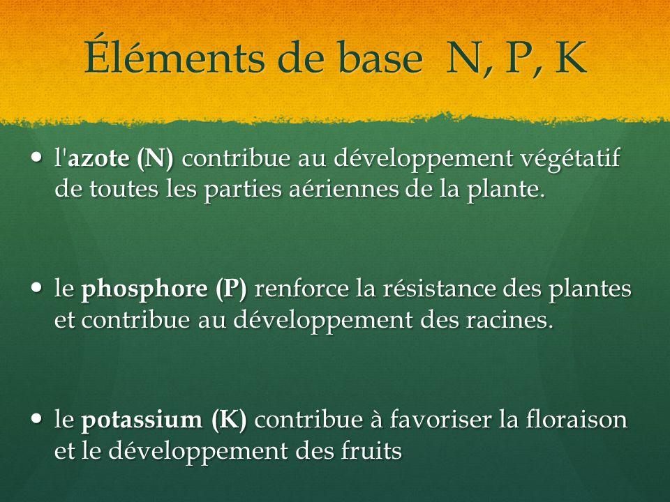 Éléments de base N, P, K l azote (N) contribue au développement végétatif de toutes les parties aériennes de la plante.
