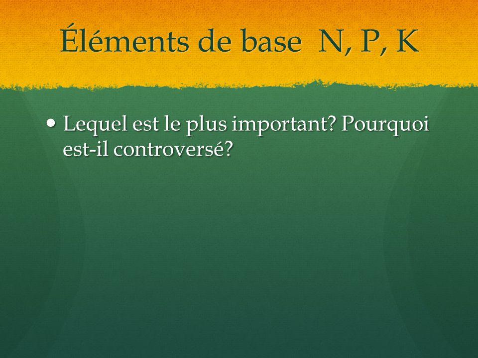 Éléments de base N, P, K Lequel est le plus important Pourquoi est-il controversé