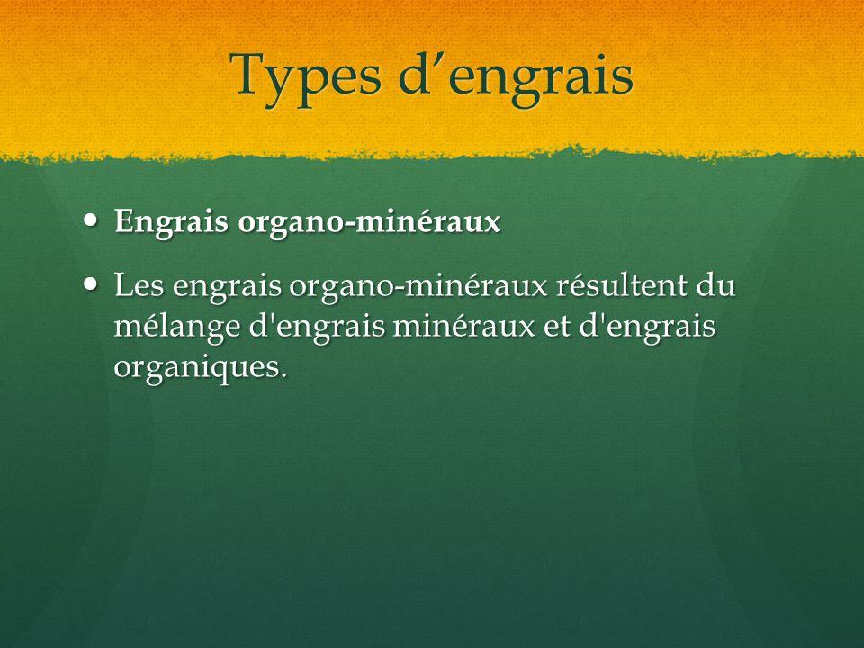 Types d'engrais Engrais organo-minéraux