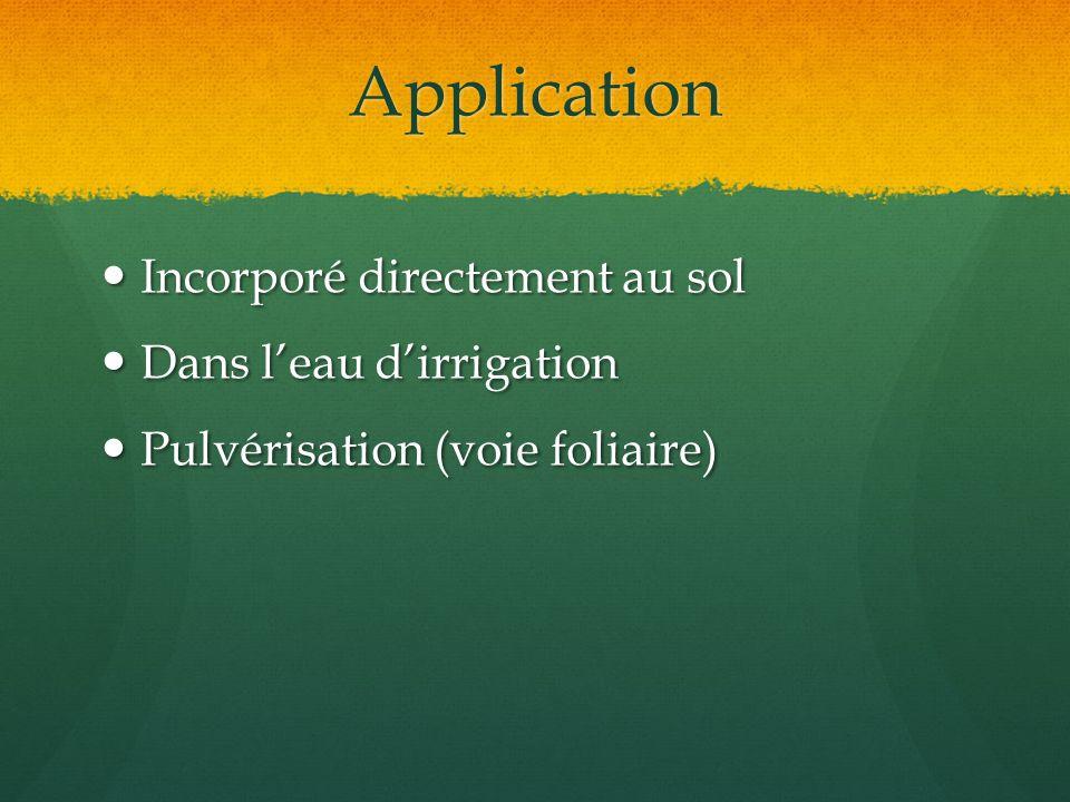 Application Incorporé directement au sol Dans l'eau d'irrigation