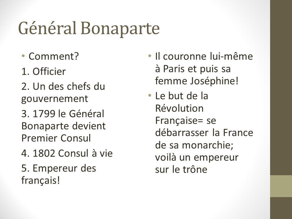 Général Bonaparte Comment 1. Officier 2. Un des chefs du gouvernement
