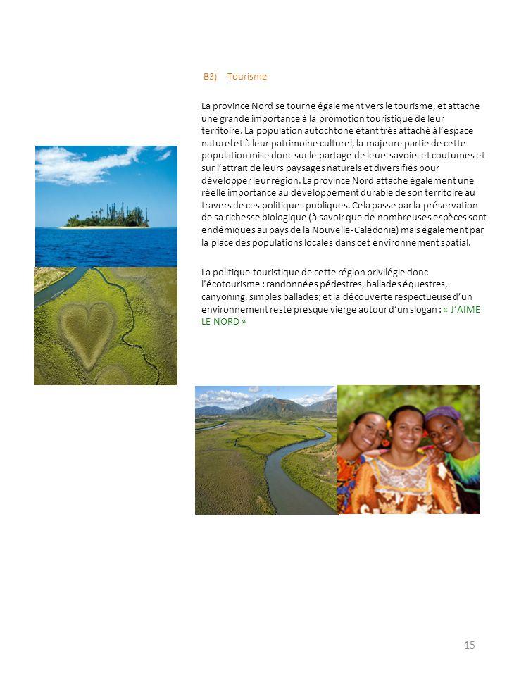 B3) Tourisme La province Nord se tourne également vers le tourisme, et attache une grande importance à la promotion touristique de leur territoire.