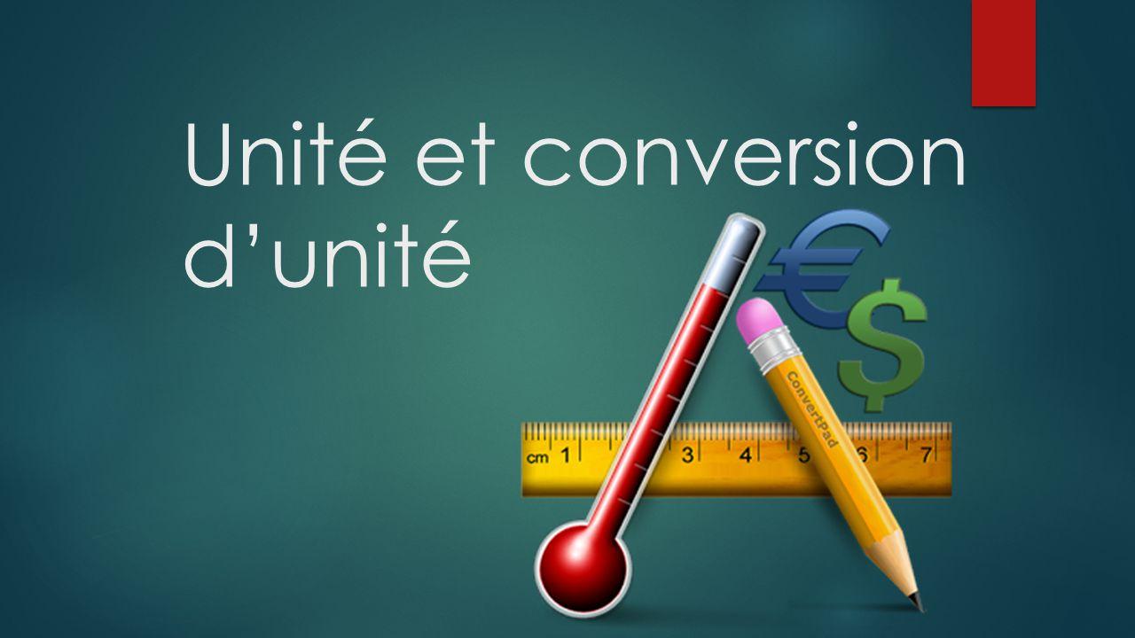 Unité et conversion d'unité