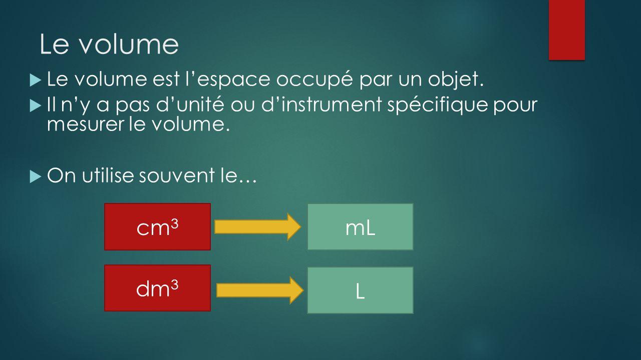 Le volume cm3 mL dm3 L Le volume est l'espace occupé par un objet.