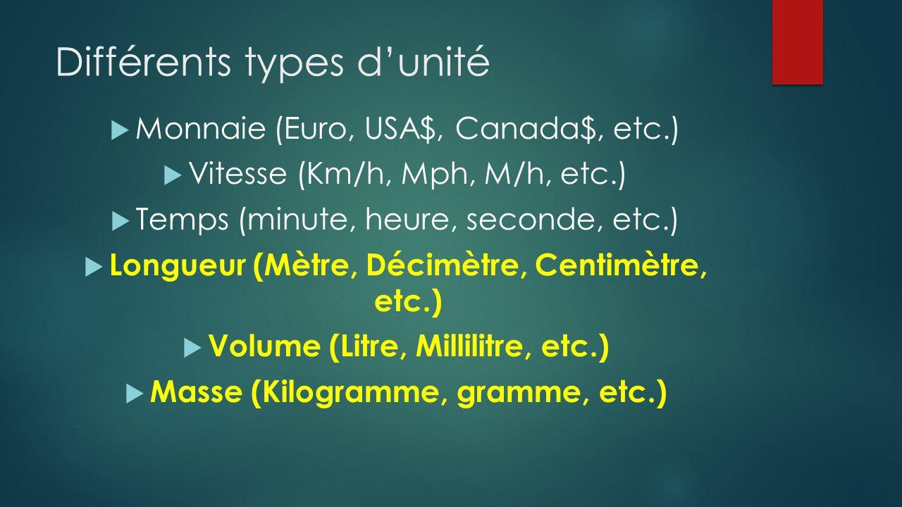 Différents types d'unité