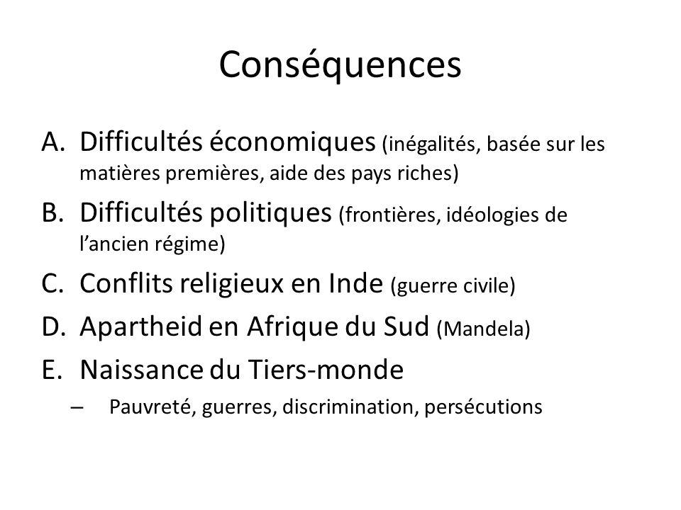 Conséquences Difficultés économiques (inégalités, basée sur les matières premières, aide des pays riches)