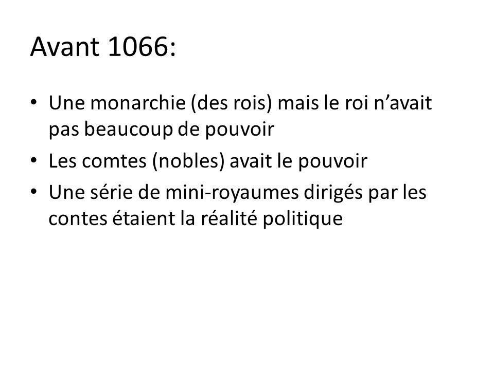 Avant 1066: Une monarchie (des rois) mais le roi n'avait pas beaucoup de pouvoir. Les comtes (nobles) avait le pouvoir.