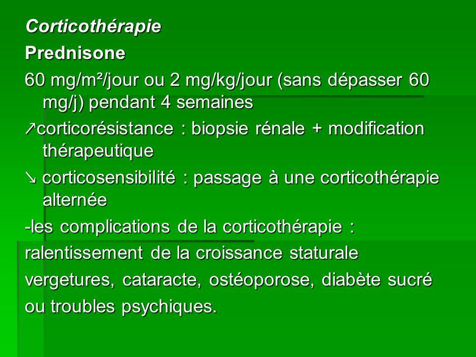 Corticothérapie Prednisone 60 mg/m²/jour ou 2 mg/kg/jour (sans dépasser 60 mg/j) pendant 4 semaines ↗corticorésistance : biopsie rénale + modification thérapeutique ↘ corticosensibilité : passage à une corticothérapie alternée -les complications de la corticothérapie : ralentissement de la croissance staturale vergetures, cataracte, ostéoporose, diabète sucré ou troubles psychiques.